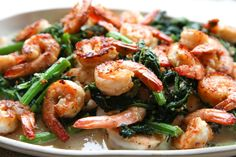 Parmesan Shrimp with Garlicky Broccoli
