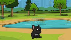 An Observant Young Black French Bulldog With A Small Pond In The Park Background:  A dog with short black fur pink pointed ears sitting on the floor while looking to its left and A park with trees surrounding a small blue pond in the middle of a bussing city  #animal #cartoon #clipart #illustration #vector #vectortoons