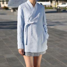 한복 HANBOK, Korean traditional clothes : 핏이 간결하고, 군더더기 없는 파스텔 재킷. 정장, 오피스룩으로도 엣지있게 활용이 가능하다는 사실☺️