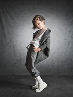 Draped tweed jacket and gathered pants for kids at Xenia Joost fall/winter 2014