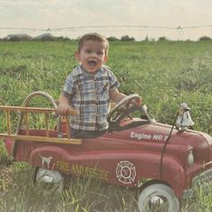 First year photo shoot - Vintage fire truck