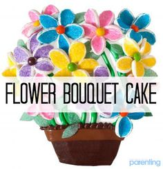"""For a baby shower cake that doesn't scream """"baby,"""" try this elegant flower bouquet confection. Marshmallow halves rolled in colored sugar make brightly-colored petals pop."""