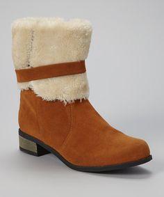 Look at this #zulilyfind! Tan Buckle Shearling Boot #zulilyfinds