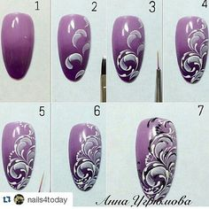 Interested In Arts And Crafts? Read This First Nail art tutorial Lace Nails, Flower Nails, Nail Art Modele, One Stroke Nails, Painted Nail Art, Nail Patterns, Manicure E Pedicure, Nail Tutorials, Nail Stamping