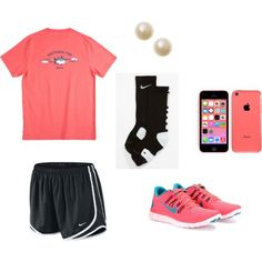 """OOTD"" by sydb1116 on Polyvore nike hot pink sneakers tempo shorts pearls southern tide coral t-shirt"