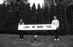 Anna Gray and Ryan Wilson Paulsen. Artistic duo Anna Gray and Ryan Wilson Paulsen use basic black text on white paper to convey their often comical messages relating to a wide variety. Baby Announcement Pictures, Birth Announcement Boy, Funny Babies, Cute Babies, Hipster, New Parents, Baby Boy Shower, Baby Love, Baby Baby