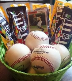 Easter Basket Ideas for Boys    A pair of tickets to see a local Minor League game  Microwave popcorn  Bubble gum (He's never too old for Big League Chew Bubblegum!)  Eye black  New baseball cap  Maybe adapt it to football though :)