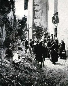 Wilhelm Hasemann: Vor der Wallfahrtskirche (1890)  abgedruckt: Mein Heimatland 26 (1939)  S. 308