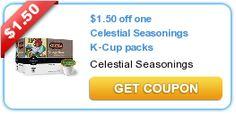 $1.50 off one Celestial Seasonings K-Cup packs #coupon