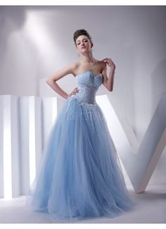 $230.99  Floor-length Light Sky Blue Satin Sweetheart Ball Gown With Embroidery #special#occasion#dress