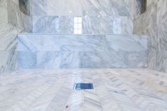 #Mosaic #Monday features a gorgeous installation of our Winter Frost Chevron mosaic with our Bianco Gioia, out of Malibu, California! #Marble #mosaics #herringbone #winter #frost #bianco #flooring #floor #walltile #stone #natural #chevron #pattern #tile #tiles #interiordesign #bathroom #shower #design #designer #homedecor #Mondaymotivation #Malibu #California #home #living