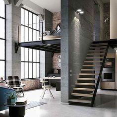 Top Interior and Loft Design Ideas in Industrial Style - All For Decoration Loft Interior Design, Home Design Diy, Loft Design, Modern House Design, Design Ideas, Industrial Interior Design, Industrial Interiors, Industrial House, Industrial Style