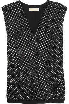 MICHAEL Michael Kors Crystal-embellished georgette top | NET-A-PORTER