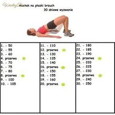 Mostek na płaski brzuch - 30 dniowe wyzwanie! 30 Day Challenge, Workout Challenge, Weight Loss Inspiration, Fitness Inspiration, Gym Time, Easy Workouts, Excercise, Cardio, Health Fitness