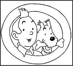 Photos Of Tintin And Snowy coloring picture for kids