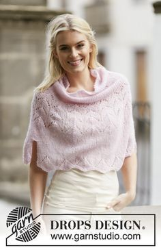 """A soft touch! #DROPSDesign #poncho with #lace pattern in """"Brushed Alpaca Silk"""". Pattern online for free!"""