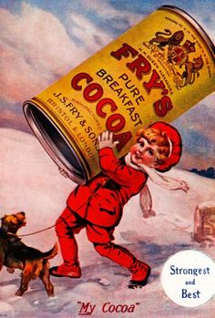 Frys Cocoa, 1920 English magazine advert for the drinking chocolate, tin here carried by a red clothed boy in the snow Stock Photo Retro Advertising, Retro Ads, Vintage Advertisements, Retro Vintage, Vintage Food, Retro Recipes, Vintage Recipes, Cocoa, Ovaltine