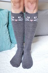 """"""" Cat, Owl, and Panda Knee High Socks pattern by Lauren Riker Check Meowt! Cat, Owl, and Panda Knee High Socks pattern by Lauren Riker Crochet Socks, Knitted Slippers, Knitting Socks, Hand Knitting, Knit Crochet, Knit Socks, Woolen Socks, Knitting For Kids, Knitting Projects"""