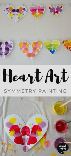 Use this symmetry painting technique to create unique heart art for Valentine's Day. This is an easy and fun art activity for kids of all ages, from toddlers on up! day crafts kids Heart Symmetry Painting with Kids - Easy & Fun for Valentine's Day! Valentine's Day Crafts For Kids, Valentine Crafts For Kids, Art Activities For Kids, Valentines Day Activities, Art For Toddlers, Therapy Activities, Valentines Crafts For Kindergarten, Art For Preschoolers, Symmetry Activities