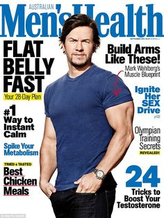 Mark Wahlberg poses for the cover of Australian Men's Health magazine Body goals: Mark Wahlberg shows off his muscular torso and bulging biceps on the front cover of Men's Health Australia , which hit stands on Monday Men's Health Magazine, Magazine Man, Fitness Magazine, Magazine Covers, Mark Wahlberg Muscle, Old Hollywood Actors, Face Health, Men Health, Celebrity Workout