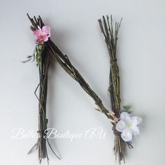 Woodland nursery twig letter, custom wooden floral letters, rustic home decor, boho weddings decorations, forest wall names signs - Woodland nursery twig letter custom wooden floral letters Twig Crafts, Nature Crafts, Wooden Flowers, Fabric Flowers, Boho Decor, Rustic Decor, Rustic Signs, Twig Art, Boho Wedding Decorations