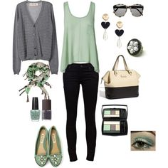 mint green, black, gray and beige, created by bbrink685.polyvore.com