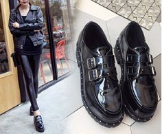 $15   2016 Fashion Women Double Strap Patten Faux Round Toe Black Leather Shoes Gothic Awesome Black Style Platform Boots
