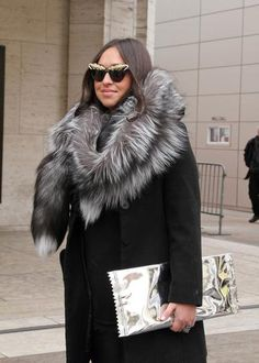 winter outfit - oversized fur + cat eye glasses