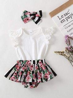 0639b91135c2 3-piece Headband Top Panties Baby Girls Set Toddler Cap Sleeves Tshirt Floral  Print Shorts. Girls Fashion ClothesGirl ...