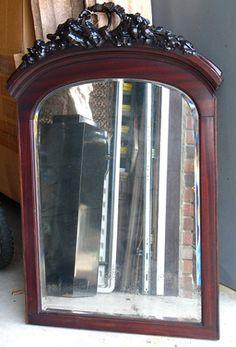 "Victorian Mirror Carved Mahogany Frame 40""x27"""