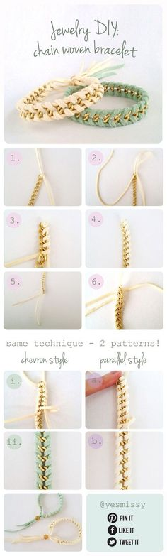 Chain and suede bracelet DIY. Place two stands on the outside of one piece of chain, then take another piece and wrap it through the chain around the loose piece of suede