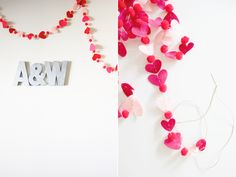 DIY - Felt Garland made of circles and hearts sewn together. Tutorial found here: http://happyhawkins.blogspot.com/2012/01/v-day-garland.html