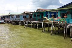 Kampung Ayer, Water Village  (Brunei). 'Borneo is modernising  quickly, but even…