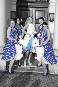I don't like this photo editing style, but otherwise this is cute.  It's funny because my bridesmaids dresses are like this except red and my dress is similar!
