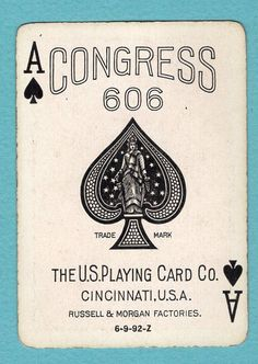 1 Single Swap Playing Card ANTIQUE 1899 ACE OF SPADES 606 USPCC ROOKWOOD VINTAGE