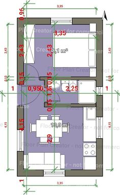 Small Apartment Layout, Studio Apartment Layout, Small Apartments, Tiny House Cabin, Small House Plans, House Floor Plans, Modern House Plans, Interior Design Living Room Warm, Hotel Room Design