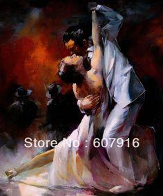 el boyalı vintage portrait boya yağlıboya tuval sevgilisi tango dans 20x24 inç(China (Mainland))