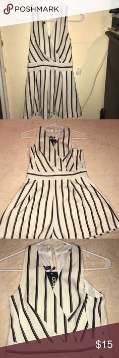 Black and White Romper Molly Wrap over stripe play suit Boohoo Dresses