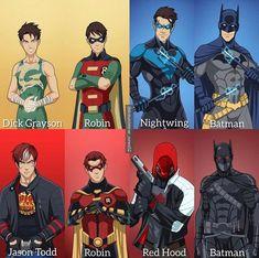 Robin and Batman evolution! Is this the greatest DC duo? Drawn by: Edit: Tags: Superhero Family, Superhero Design, Batman Family, Batman Hush, Batman Vs Superman, Marvel Dc, Marvel Comics, Dc Comics Art, Detective Comics