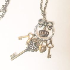 Gold Key, Crown & Bow Necklace Gold Key, Crown & Bow Necklace Jewelry Necklaces