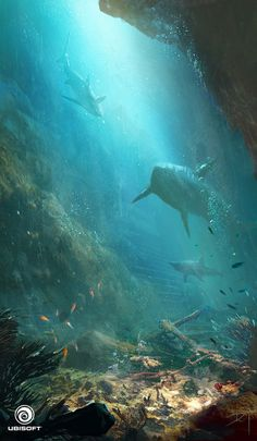 Dive into the world of Ubisoft Artist, Donglu Yu, including her artworks made for Assassin's Creed IV : Black Flag And Far Cry Concept Art World, Environment Concept Art, Environment Design, Underwater Art, Underwater Photography, Underwater Background, Fantasy Landscape, Fantasy Art, Assassins Creed Black Flag