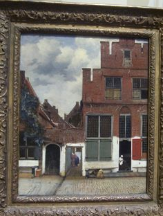View of Houses in Delft known as 'The Little Street' by Johannes Vermeer. Picture taken at Rijksmuseum, Amsterdam. Painting Prints, Fine Art Prints, Framed Prints, Poster Prints, Canvas Prints, Paintings, Johannes Vermeer, Baroque Art, Dutch Painters