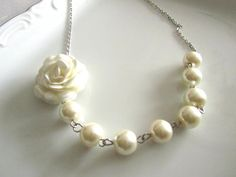 Ivory flower necklace with pearls   Pearl necklace   by MUGE, $9.50