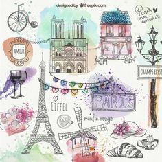 Paris mão desenhada doodles Vetor grátis