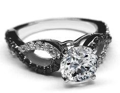 Black & White Diamond Engagement Ring infinity Diamonds band in 14K White Gold - ES1090