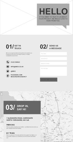 "Contact Page from MIXD – the ""first conversation"" experience #webdesign #wireframe"