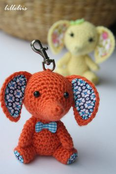 Tiny amigurumi elephant key holders