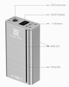 SMOK X CUBE MINI is the mini version of X CUBE II. As one of the most accurate temperature-control mods, X CUBE MINI features three new functions: Intelligent Coil Recognition, Adjustable Temperature Coefficient of Resistance and Adjustable Initial Resistance, which are designed to bring your vaping experience to the next level. It has 75W maximum output,Bluetooth 4.0 technology, and a customizable LED that potentially illuminates in up to 16 million colors.