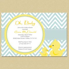 Blue Rubber Duck Baby Shower Invitation - Matching Coordinates Available via Etsy