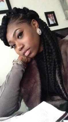 love the look of the chunky braids Protective Hairstyles, Braided Hairstyles, Cool Hairstyles, Protective Styles, Beautiful Braids, Gorgeous Hair, Tresses Box Braids, Curly Hair Styles, Natural Hair Styles